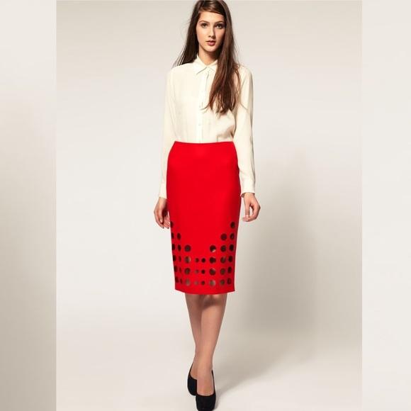 ASOS Wool Laser Cut Dot Pencil Skirt